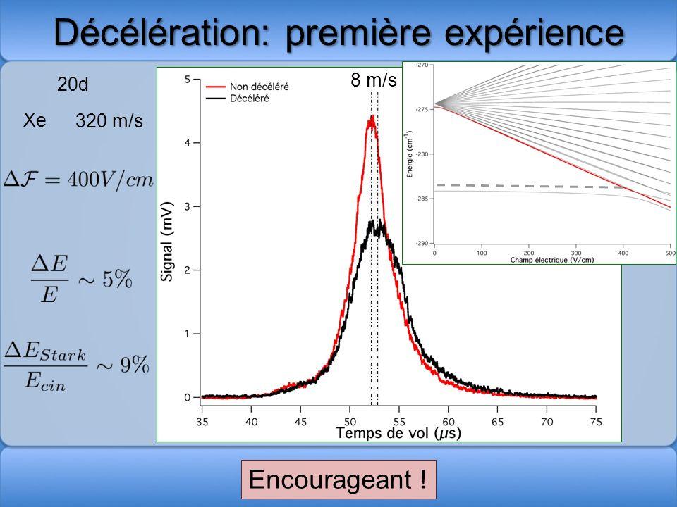 Décélération: première expérience 8 m/s 20d Encourageant ! Xe 320 m/s