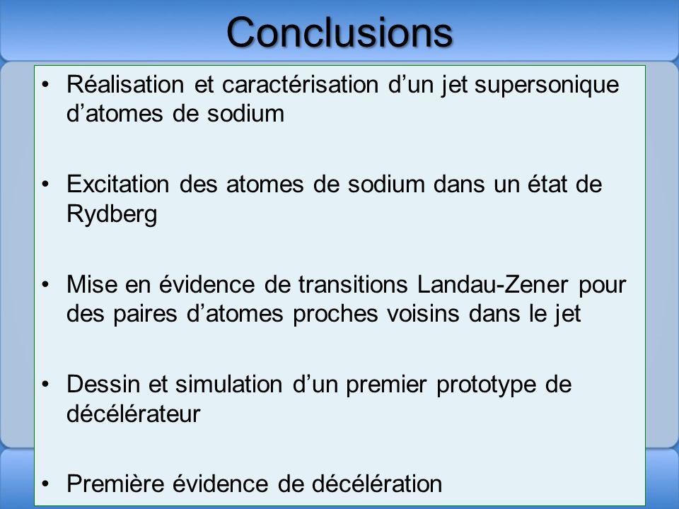 Conclusions Réalisation et caractérisation dun jet supersonique datomes de sodium Excitation des atomes de sodium dans un état de Rydberg Mise en évid