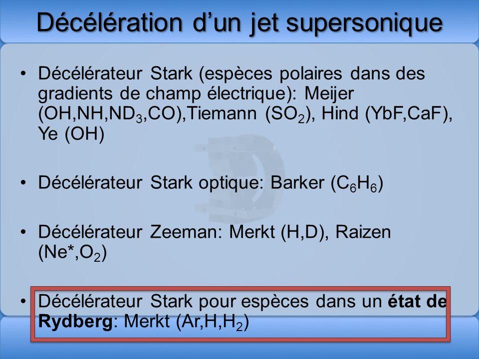 Décélération Stark pour espèce polaire Effet Stark: SO 2 : =1.6 Debye Force exercée par un champ électrique inhomogène f/m 10 5 -10 6 g Pression de radiation lors du refroidissement laser 10 3 -10 4 g