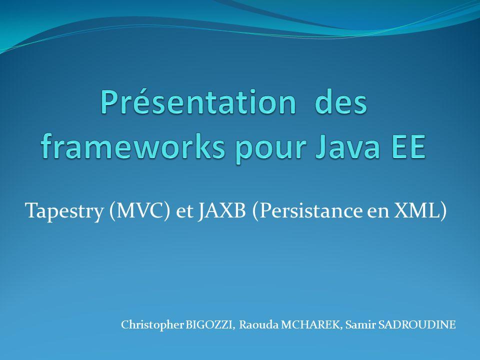 Tapestry (MVC) et JAXB (Persistance en XML) Christopher BIGOZZI, Raouda MCHAREK, Samir SADROUDINE