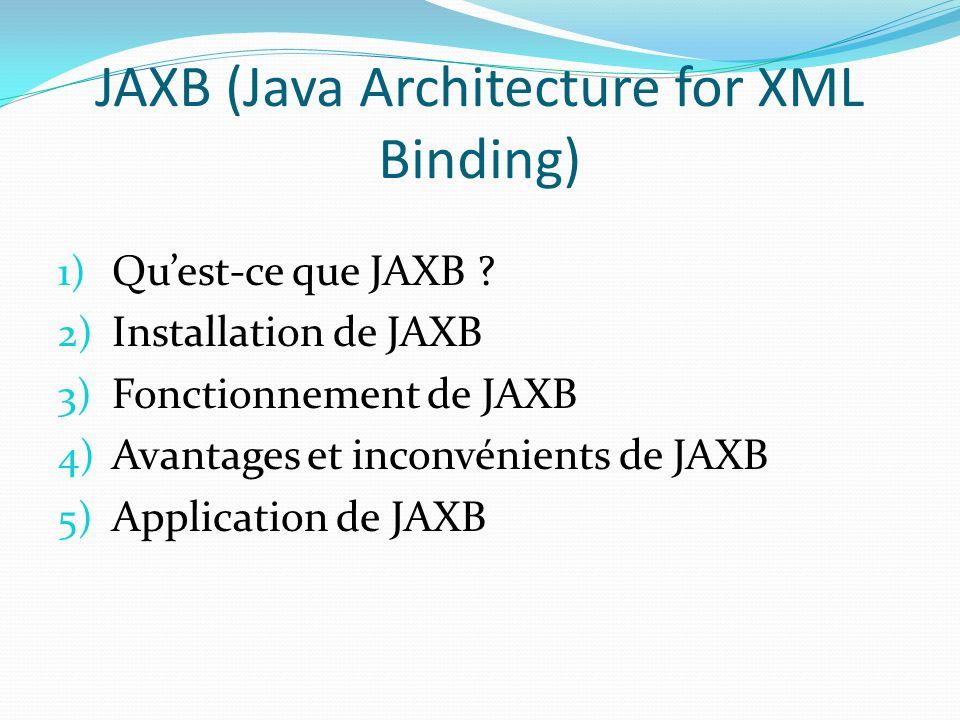 JAXB (Java Architecture for XML Binding) 1) Quest-ce que JAXB ? 2) Installation de JAXB 3) Fonctionnement de JAXB 4) Avantages et inconvénients de JAX