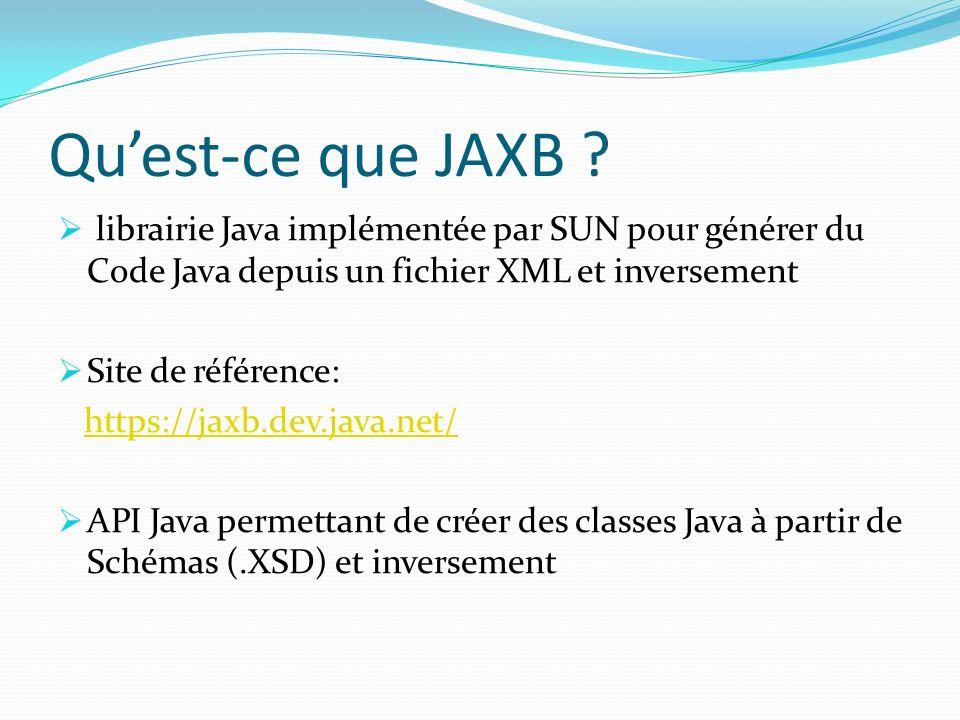 Quest-ce que JAXB ? librairie Java implémentée par SUN pour générer du Code Java depuis un fichier XML et inversement Site de référence: https://jaxb.