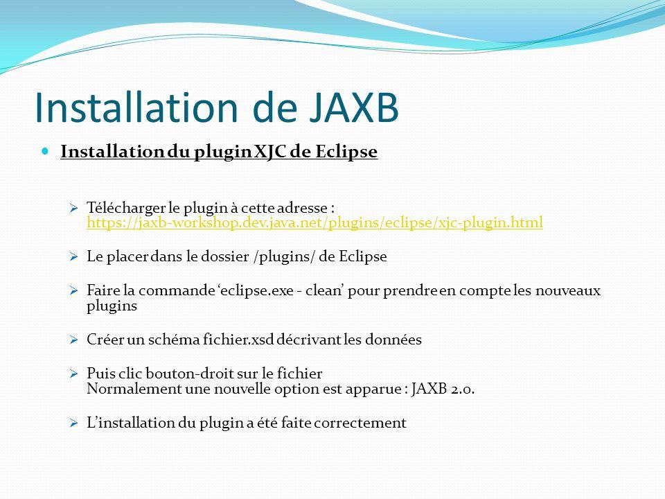 Installation de JAXB Installation du plugin XJC de Eclipse Télécharger le plugin à cette adresse : https://jaxb-workshop.dev.java.net/plugins/eclipse/
