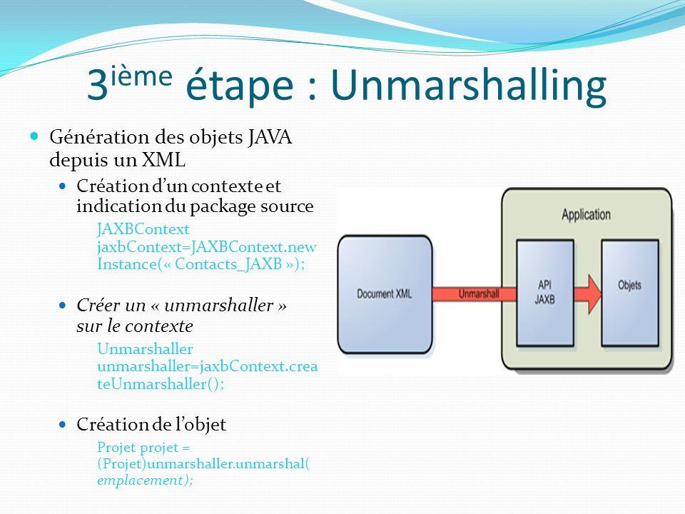 3 ième étape : Unmarshalling Génération des objets JAVA depuis un XML Création dun contexte et indication du package source JAXBContext jaxbContext=JA