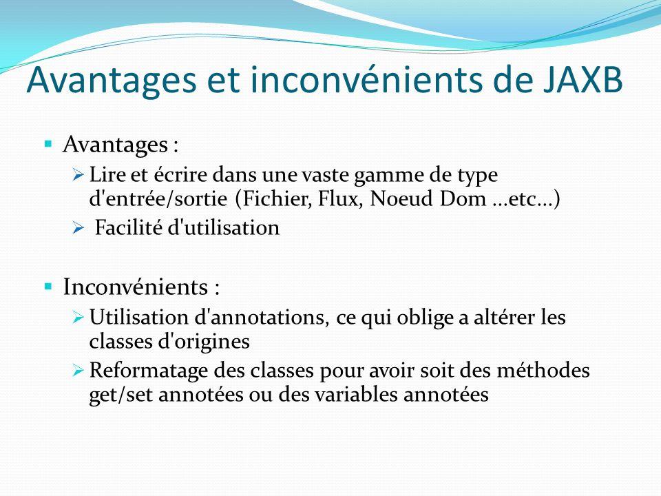 Avantages et inconvénients de JAXB Avantages : Lire et écrire dans une vaste gamme de type d'entrée/sortie (Fichier, Flux, Noeud Dom...etc...) Facilit
