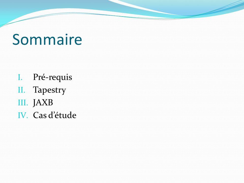 Sommaire I. Pré-requis II. Tapestry III. JAXB IV. Cas détude