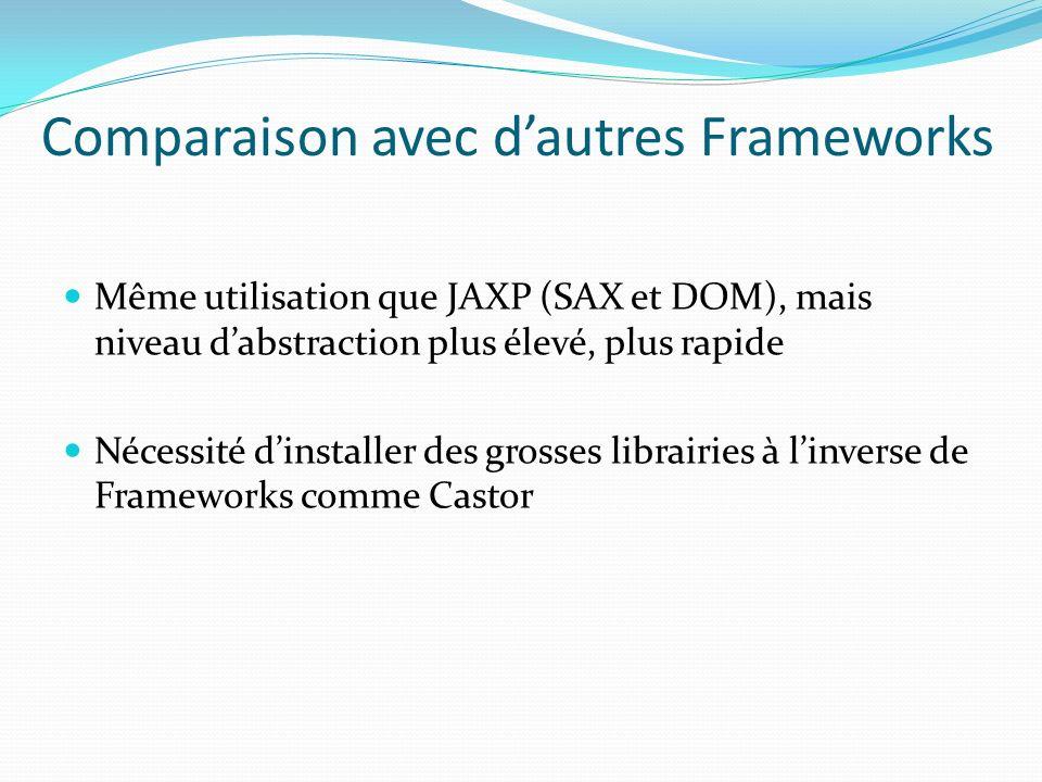 Comparaison avec dautres Frameworks Même utilisation que JAXP (SAX et DOM), mais niveau dabstraction plus élevé, plus rapide Nécessité dinstaller des