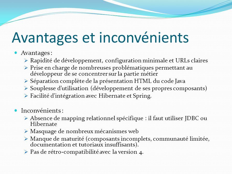 Avantages et inconvénients Avantages : Rapidité de développement, configuration minimale et URLs claires Prise en charge de nombreuses problématiques