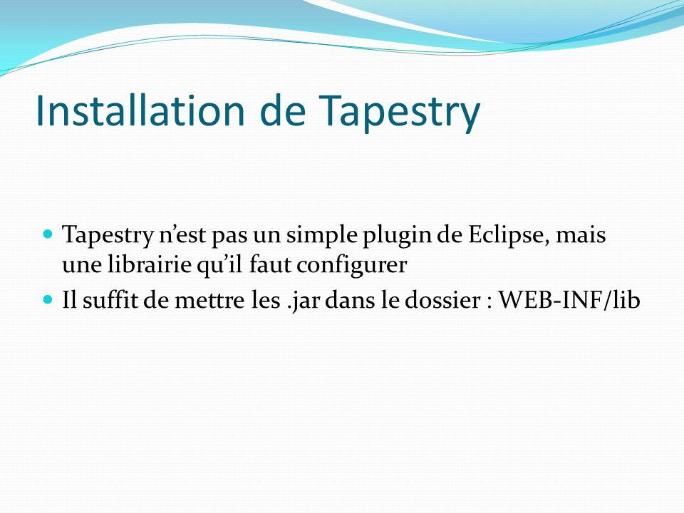 Installation de Tapestry Tapestry nest pas un simple plugin de Eclipse, mais une librairie quil faut configurer Il suffit de mettre les.jar dans le do