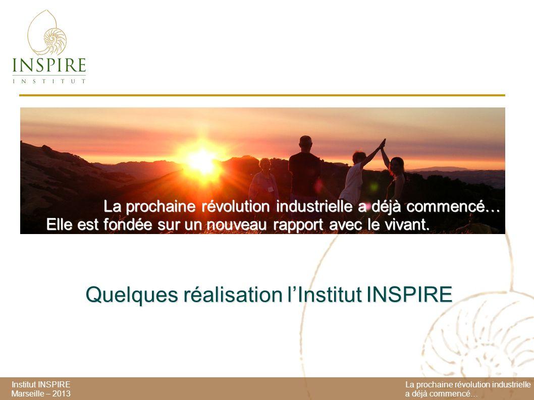 Institut INSPIRE Marseille – 2013 La prochaine révolution industrielle a déjà commencé… Elle est fondée sur un nouveau rapport avec le vivant.