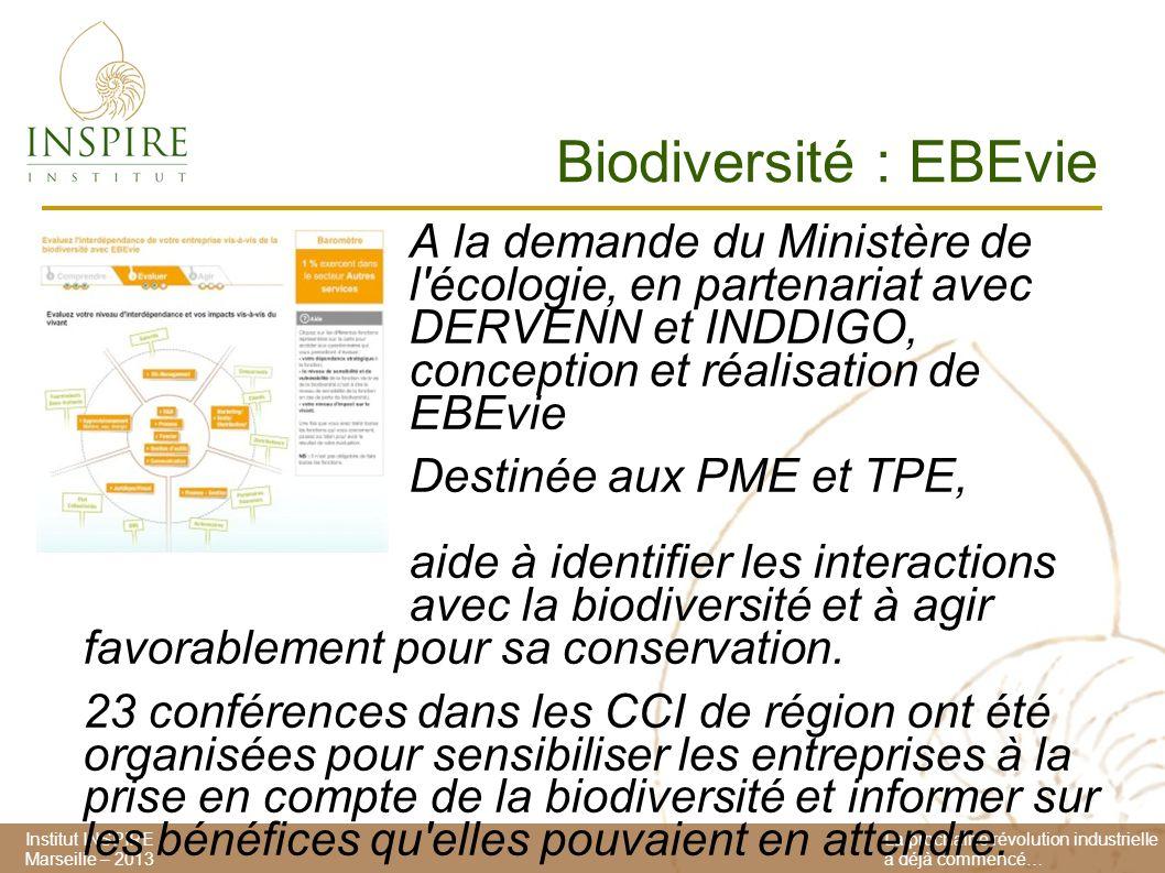 Institut INSPIRE Marseille – 2013 La prochaine révolution industrielle a déjà commencé… Biodiversité : EBEvie A la demande du Ministère de l écologie, en partenariat avec DERVENN et INDDIGO, conception et réalisation de EBEvie Destinée aux PME et TPE, EBEvie aide à identifier les interactions avec la biodiversité et à agir favorablement pour sa conservation.