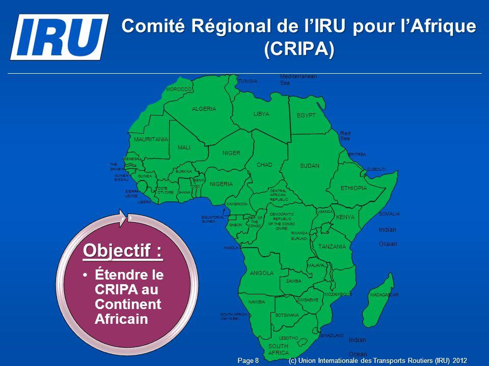 Page 9(c) Union Internationale des Transports Routiers (IRU) 2012 Composition Membres actifs de lIRU Membres associés de lIRU Membres bénéficiant du statut dobservateur Toute personne ou tout représentant de haut niveau Comité Régional de lIRU pour lAfrique (CRIPA)