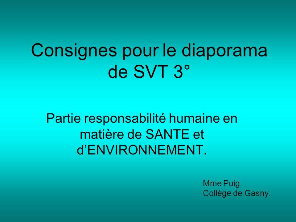 Consignes pour le diaporama de SVT 3° Partie responsabilité humaine en matière de SANTE et dENVIRONNEMENT. Mme Puig. Collège de Gasny.