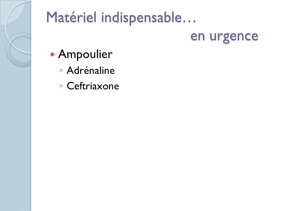 Matériel indispensable… en urgence Ampoulier Adrénaline Ceftriaxone