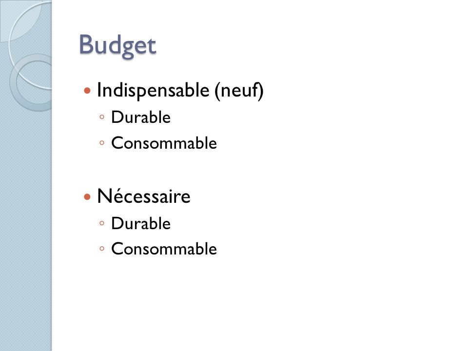 Budget Indispensable (neuf) Durable Consommable Nécessaire Durable Consommable