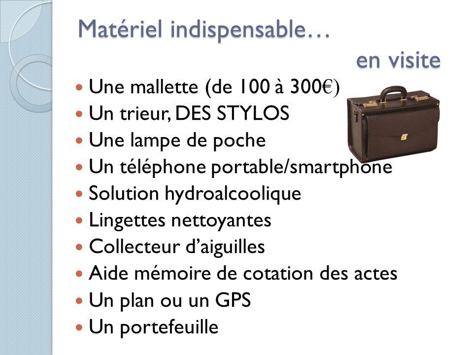 Matériel indispensable… en visite Une mallette (de 100 à 300 ) Un trieur, DES STYLOS Une lampe de poche Un téléphone portable/smartphone Solution hydr