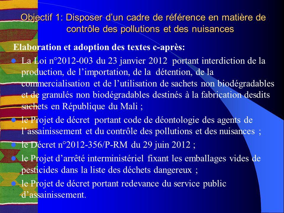 Objectif 1: Disposer dun cadre de référence en matière de contrôle des pollutions et des nuisances Elaboration et adoption des textes c-après: La Loi