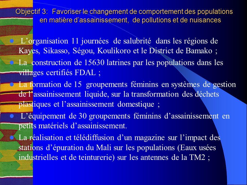 Objectif 3: Favoriser le changement de comportement des populations en matière dassainissement, de pollutions et de nuisances Lorganisation 11 journées de salubrité dans les régions de Kayes, Sikasso, Ségou, Koulikoro et le District de Bamako ; La construction de 15630 latrines par les populations dans les villages certifiés FDAL ; La formation de 15 groupements féminins en systèmes de gestion de lassainissement liquide, sur la transformation des déchets plastiques et lassainissement domestique ; Léquipement de 30 groupements féminins dassainissement en petits matériels dassainissement.