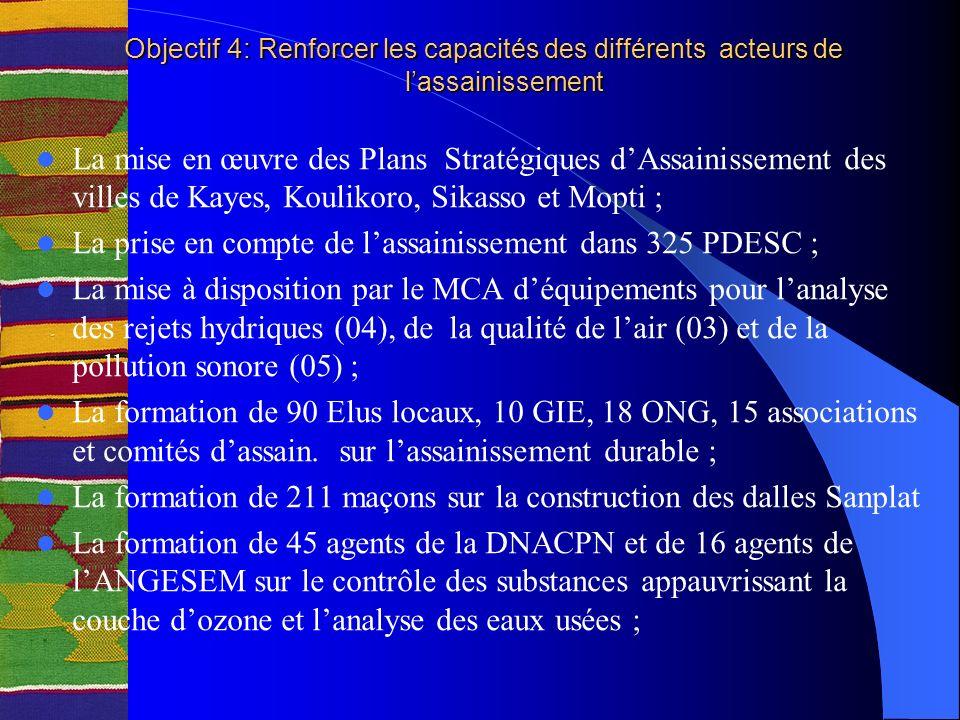 Objectif 4: Renforcer les capacités des différents acteurs de lassainissement Objectif 4: Renforcer les capacités des différents acteurs de lassainissement La mise en œuvre des Plans Stratégiques dAssainissement des villes de Kayes, Koulikoro, Sikasso et Mopti ; La prise en compte de lassainissement dans 325 PDESC ; La mise à disposition par le MCA déquipements pour lanalyse des rejets hydriques (04), de la qualité de lair (03) et de la pollution sonore (05) ; La formation de 90 Elus locaux, 10 GIE, 18 ONG, 15 associations et comités dassain.
