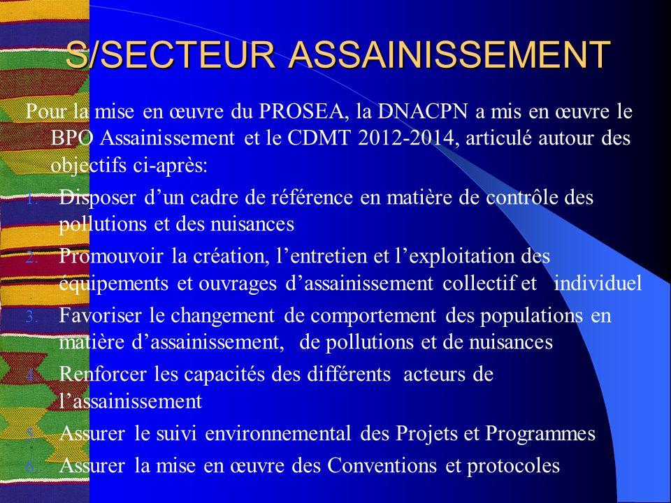 S/SECTEUR ASSAINISSEMENT Pour la mise en œuvre du PROSEA, la DNACPN a mis en œuvre le BPO Assainissement et le CDMT 2012-2014, articulé autour des objectifs ci-après: 1.