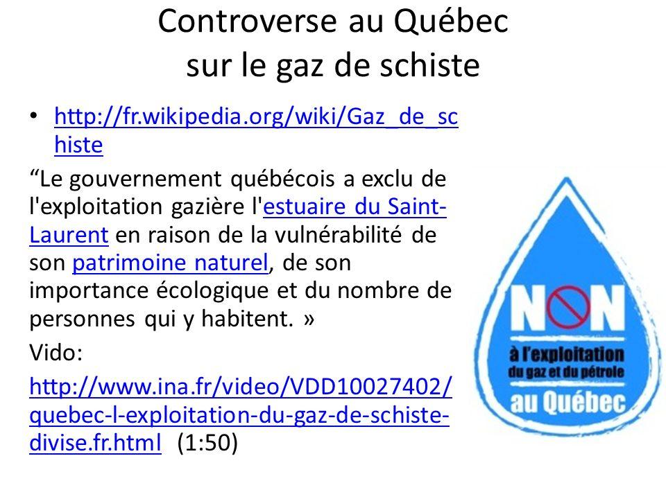 Controverse au Québec sur le gaz de schiste http://fr.wikipedia.org/wiki/Gaz_de_sc histe http://fr.wikipedia.org/wiki/Gaz_de_sc histe Le gouvernement