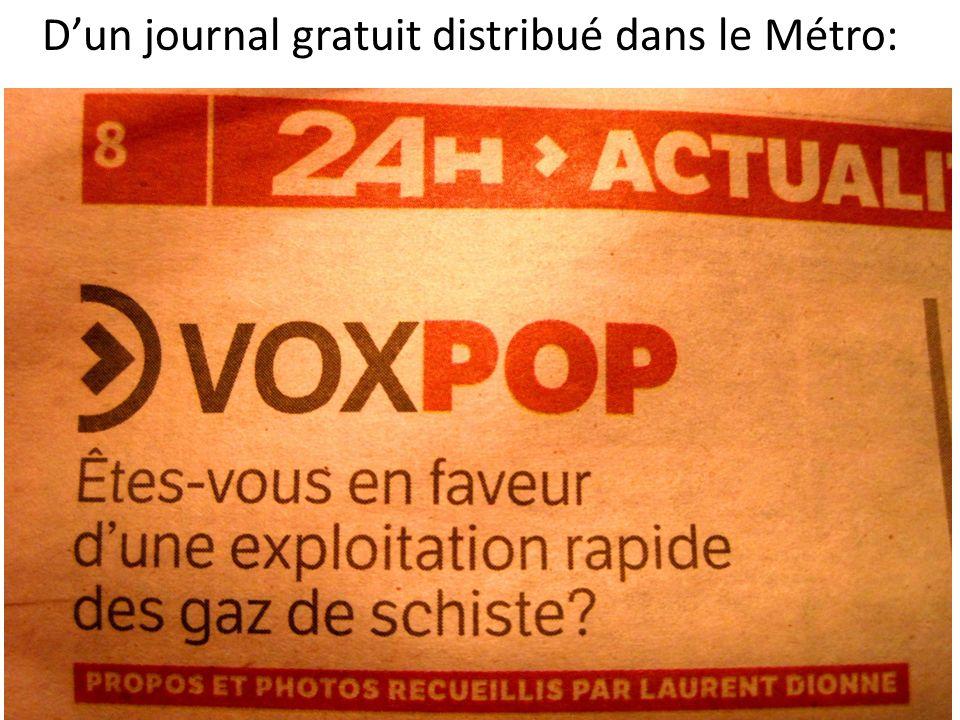 Dun journal gratuit distribué dans le Métro: