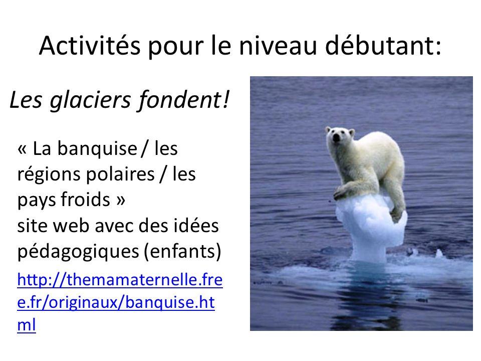 Activités pour le niveau débutant: « La banquise / les régions polaires / les pays froids » site web avec des idées pédagogiques (enfants) http://them