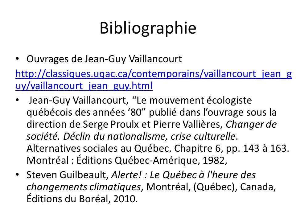 Bibliographie Ouvrages de Jean-Guy Vaillancourt http://classiques.uqac.ca/contemporains/vaillancourt_jean_g uy/vaillancourt_jean_guy.html Jean-Guy Vai