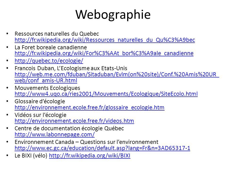 Webographie Ressources naturelles du Quebec http://fr.wikipedia.org/wiki/Ressources_naturelles_du_Qu%C3%A9bec http://fr.wikipedia.org/wiki/Ressources_
