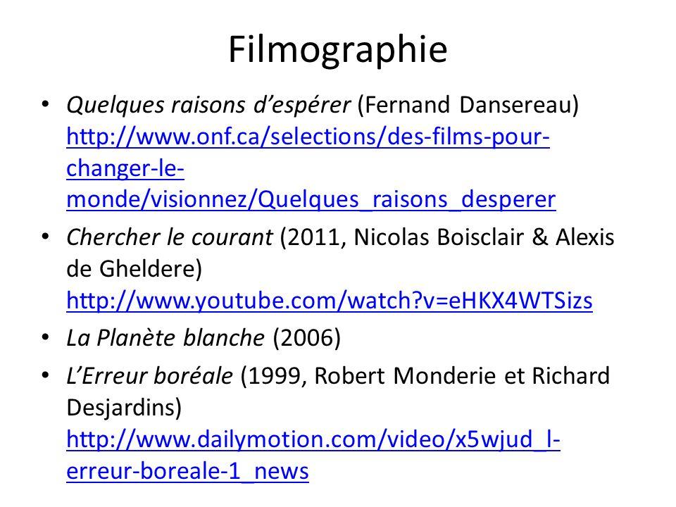 Filmographie Quelques raisons despérer (Fernand Dansereau) http://www.onf.ca/selections/des-films-pour- changer-le- monde/visionnez/Quelques_raisons_d
