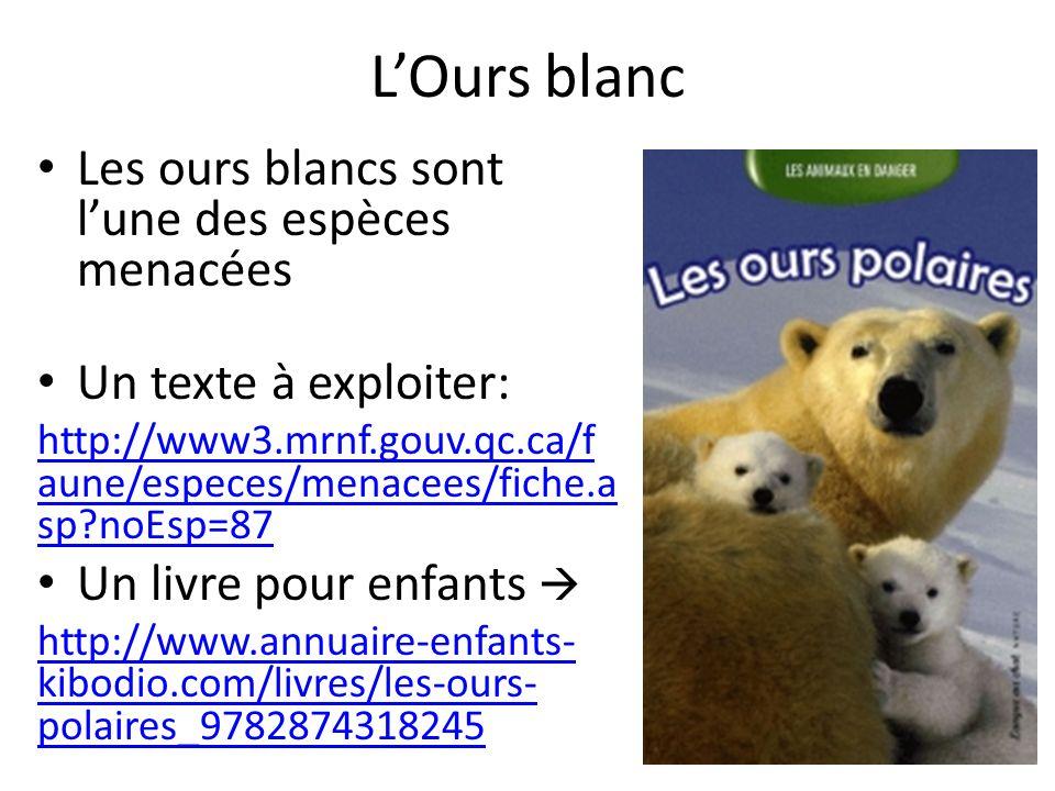 LOurs blanc Les ours blancs sont lune des espèces menacées Un texte à exploiter: http://www3.mrnf.gouv.qc.ca/f aune/especes/menacees/fiche.a sp?noEsp=