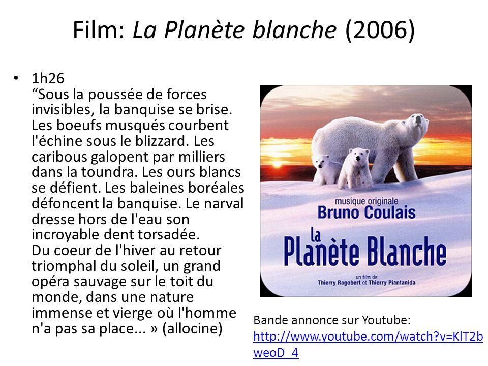 Film: La Planète blanche (2006) 1h26Sous la poussée de forces invisibles, la banquise se brise. Les boeufs musqués courbent l'échine sous le blizzard.