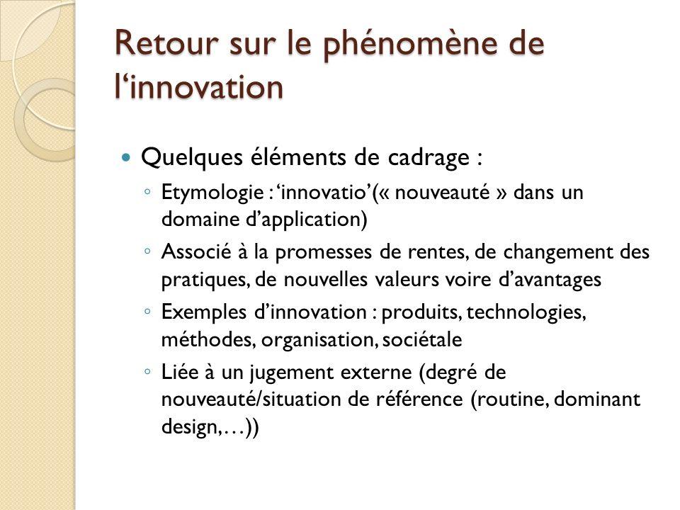 Retour sur le phénomène de linnovation Quelques éléments de cadrage : Etymologie : innovatio(« nouveauté » dans un domaine dapplication) Associé à la