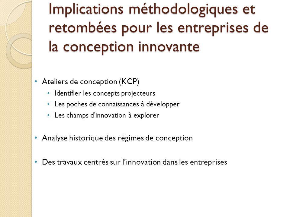 Implications méthodologiques et retombées pour les entreprises de la conception innovante Ateliers de conception (KCP) Identifier les concepts project