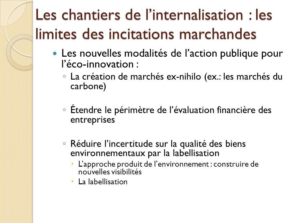 Les chantiers de linternalisation : les limites des incitations marchandes Les nouvelles modalités de laction publique pour léco-innovation : La créat