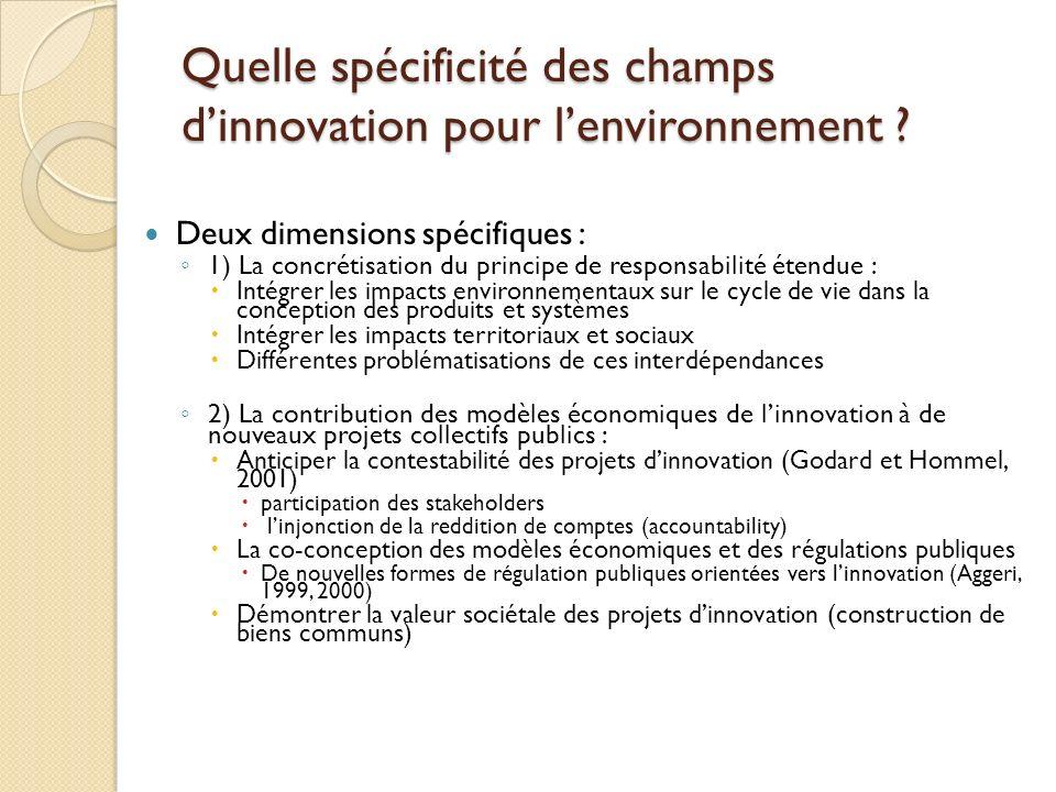 Quelle spécificité des champs dinnovation pour lenvironnement ? Deux dimensions spécifiques : 1) La concrétisation du principe de responsabilité étend