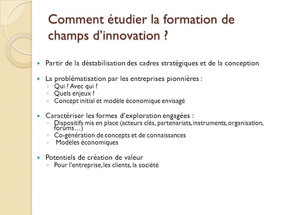 Comment étudier la formation de champs dinnovation ? Partir de la déstabilisation des cadres stratégiques et de la conception La problématisation par
