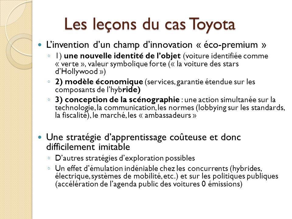 Les leçons du cas Toyota Linvention dun champ dinnovation « éco-premium » 1) une nouvelle identité de lobjet (voiture identifiée comme « verte », vale