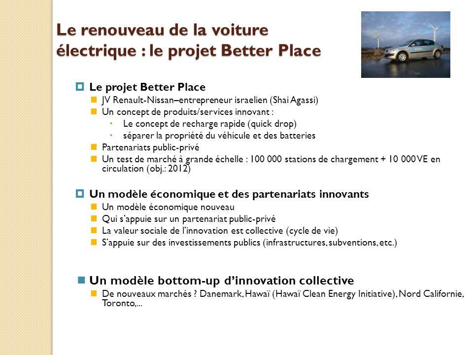 Le renouveau de la voiture électrique : le projet Better Place Le projet Better Place JV Renault-Nissan–entrepreneur israelien (Shai Agassi) Un concep