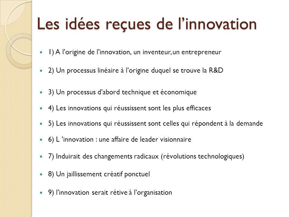 Les idées reçues de linnovation 1) A lorigine de linnovation, un inventeur, un entrepreneur 2) Un processus linéaire à lorigine duquel se trouve la R&