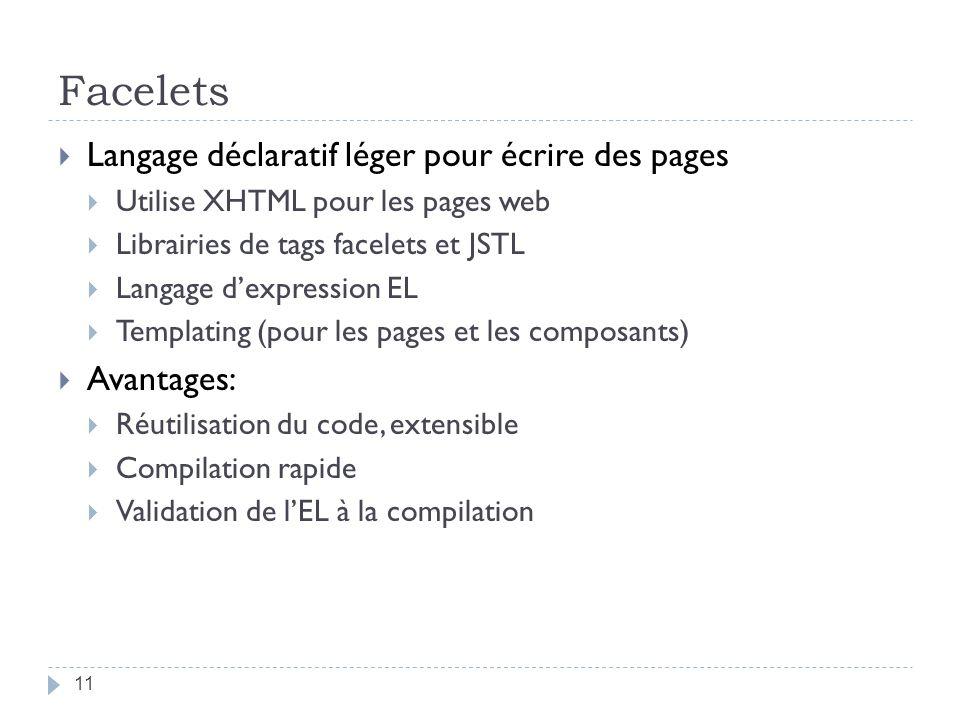 Facelets Langage déclaratif léger pour écrire des pages Utilise XHTML pour les pages web Librairies de tags facelets et JSTL Langage dexpression EL Te