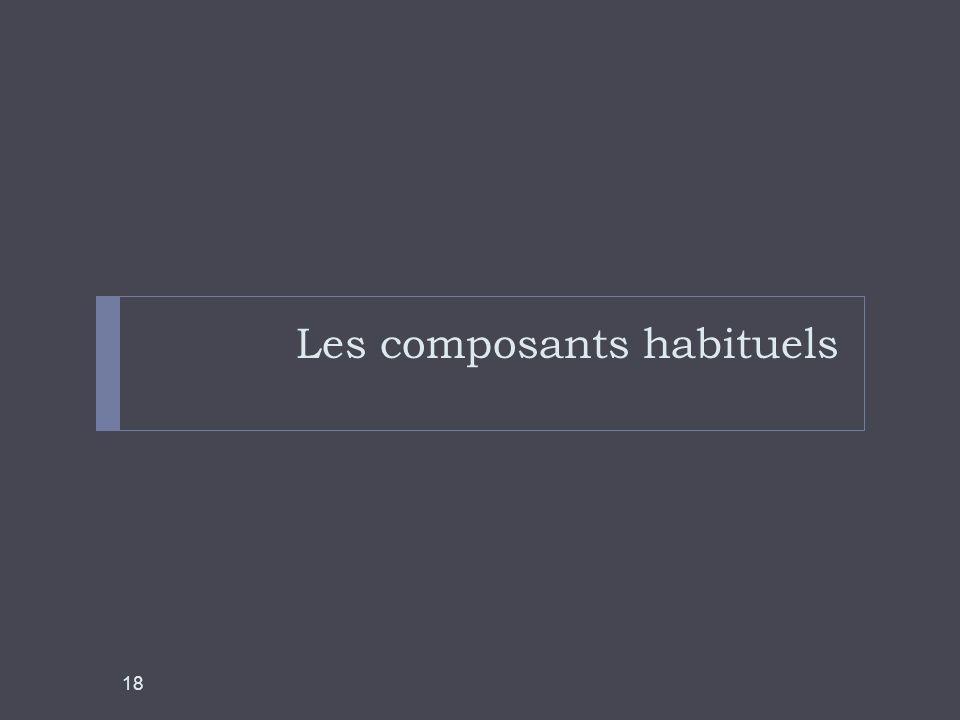 Les composants habituels 18