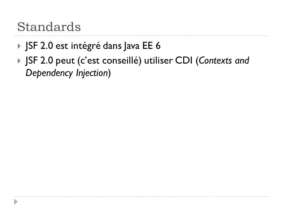 Standards JSF - page 2 JSF 2.0 est intégré dans Java EE 6 JSF 2.0 peut (cest conseillé) utiliser CDI (Contexts and Dependency Injection)