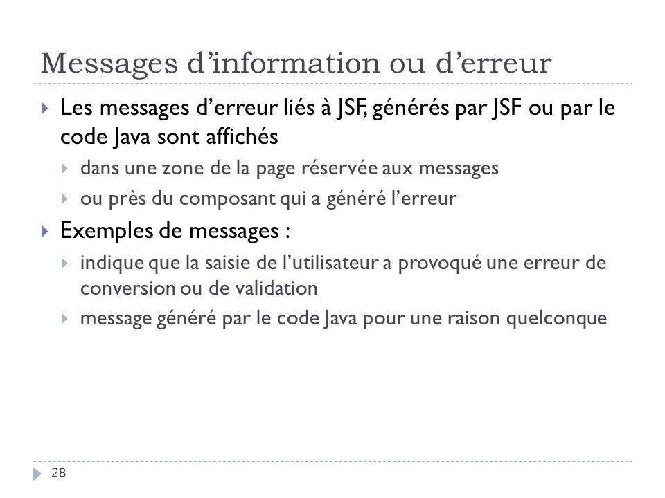 Messages dinformation ou derreur Les messages derreur liés à JSF, générés par JSF ou par le code Java sont affichés dans une zone de la page réservée