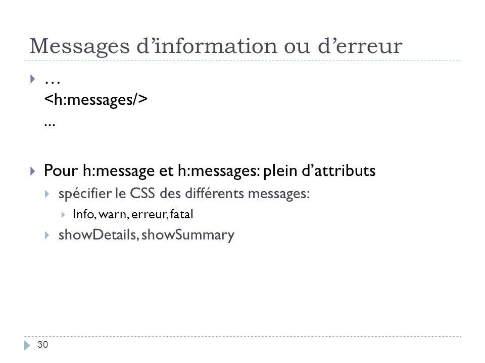 Messages dinformation ou derreur …... Pour h:message et h:messages: plein dattributs spécifier le CSS des différents messages: Info, warn, erreur, fat