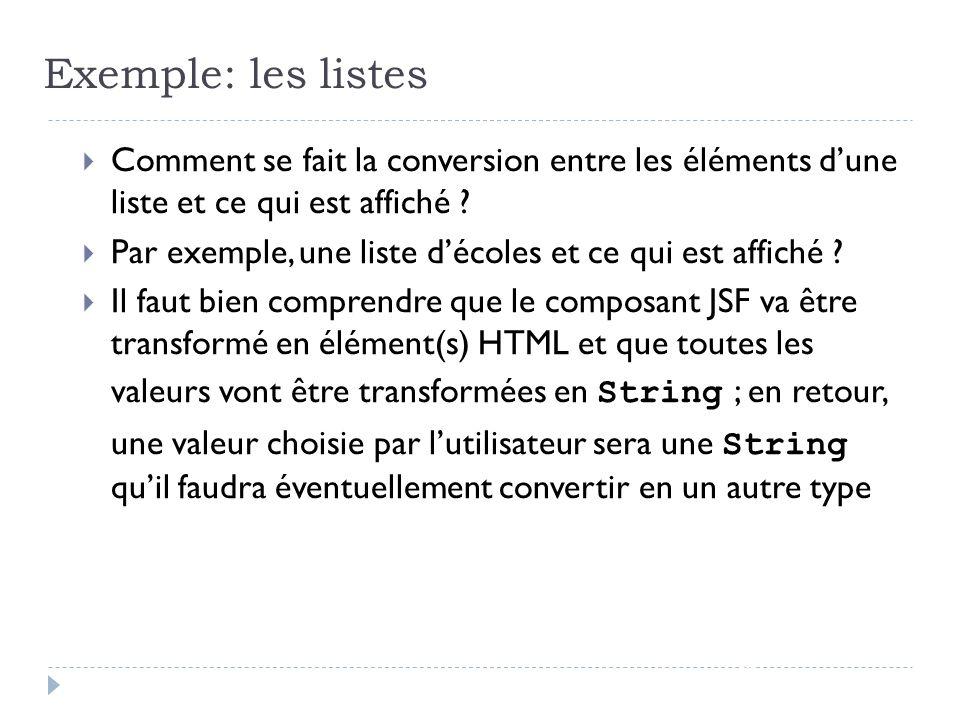 Exemple: les listes page 33 Comment se fait la conversion entre les éléments dune liste et ce qui est affiché ? Par exemple, une liste décoles et ce q