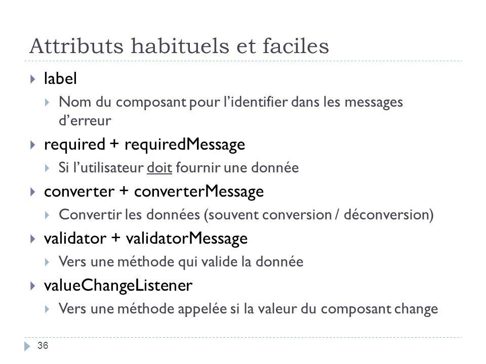 Attributs habituels et faciles label Nom du composant pour lidentifier dans les messages derreur required + requiredMessage Si lutilisateur doit fourn