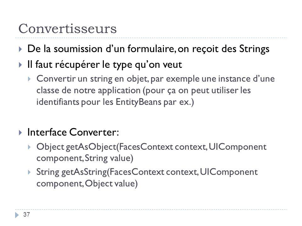 Convertisseurs De la soumission dun formulaire, on reçoit des Strings Il faut récupérer le type quon veut Convertir un string en objet, par exemple un