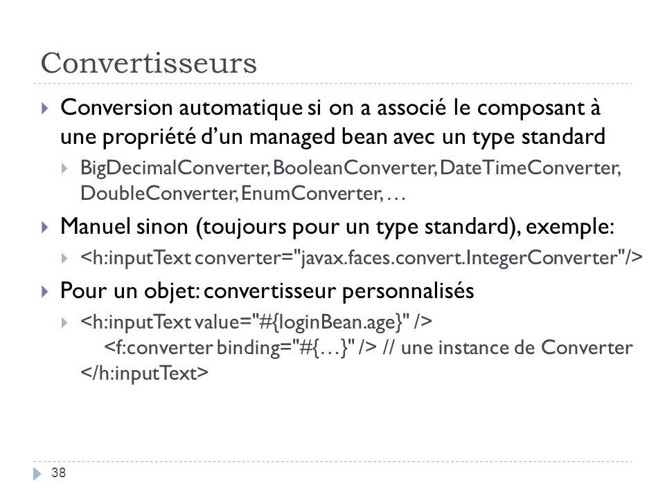 Convertisseurs Conversion automatique si on a associé le composant à une propriété dun managed bean avec un type standard BigDecimalConverter, Boolean