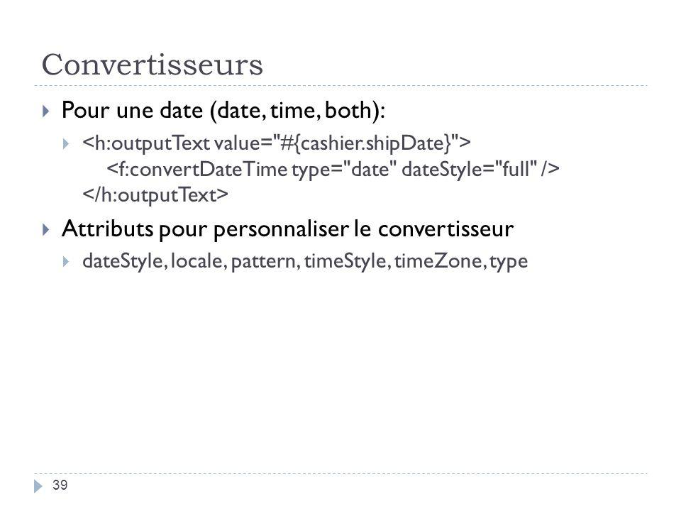 Convertisseurs Pour une date (date, time, both): Attributs pour personnaliser le convertisseur dateStyle, locale, pattern, timeStyle, timeZone, type 3
